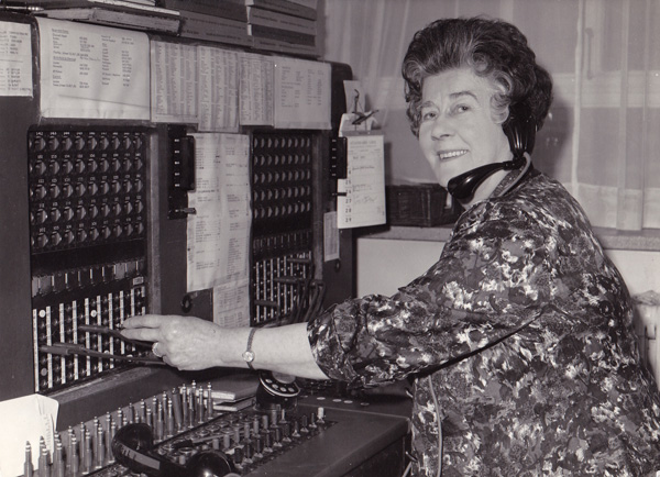 Dorothy Groen on her last day working as a telephonist  in Berkley Square aged 73 in May 1971